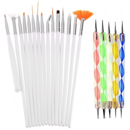 Lifestyle-You LY116A Combo Deal of Nail Art Brush Dotting Tools And 3D Nail Art 48 Bottles