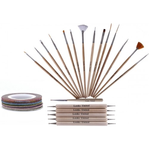Looks United Wooden 15 Nail Brushes 5 Dotting Tools And 5 Striping Tape Rolls