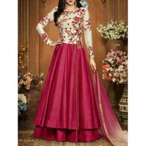 Pink Silk Anarkali Semistitched Suit By The Fashion Attire