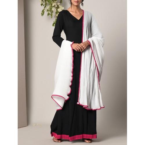 Black Cotton Modal Maxi Dress and Dupatta Set