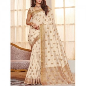 Beige Raw Silk Woven Saree By The Fashion Attire