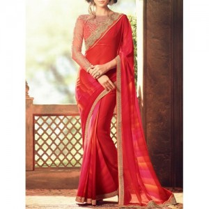 Red Georgette Printed Saree By The Fashion Attire