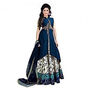 Drashti villa Blue Embroidered Semi Stitched Flower Printed Anarkali Gown