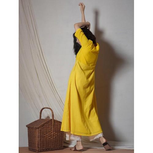 TrueBrowns yellow kurta bottom set