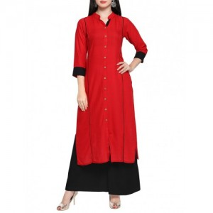 Inddus Red Cotton Straight Solid Kurta