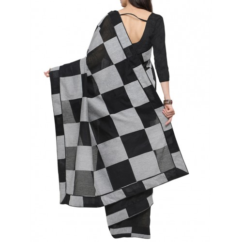 Inddus black and grey half and half saree