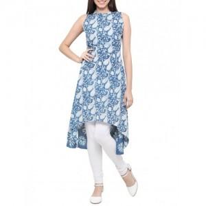 blue cotton high low kurta