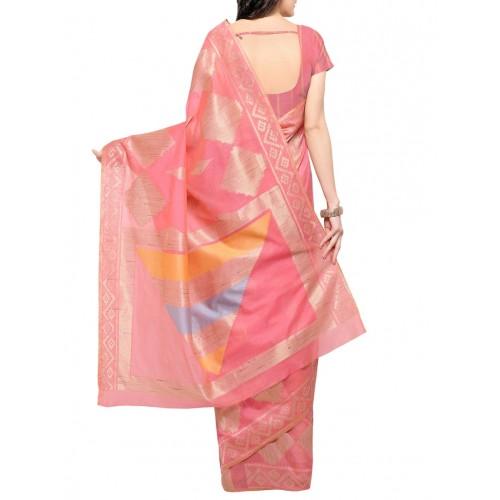 Inddus Pink Cotton Blend Woven Saree