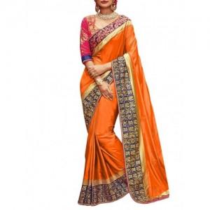 Culture Fab Orange Silk Embroidered Saree