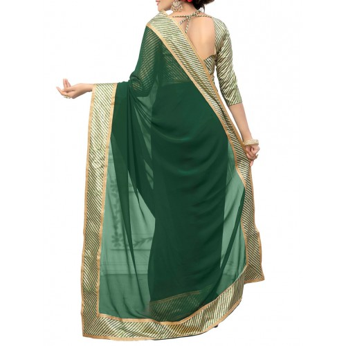 Culture Fab Green Georgette Bordered Saree