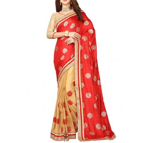 Culture Fab Red & Beige Silk Embroidered Half & Half Saree