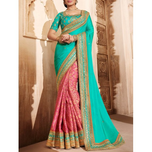 Turquoise And Pink Half And Half Silk Saree By The Fashion Attire
