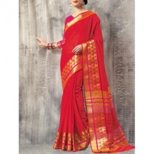 Triveni Red cotton blend bordered saree