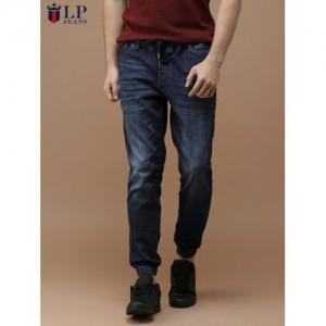 Louis Philippe Blue Slim Fit Low-Rise Clean Look Stretchable Denim Joggers