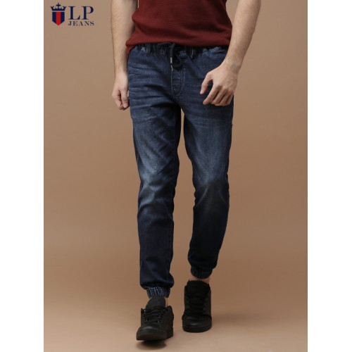 Louis Philippe Blue Slim Fit Low-Rise Clean Look Stretchable Denim Joggers