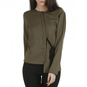 Threesome Olive moss crepe tie-up shirt