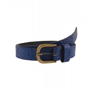 Leather Embossed Blue Belt By Aditi Wasan