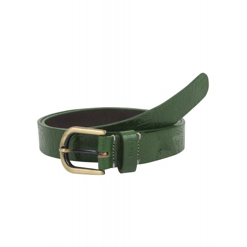 Genuine Leather Green Shantiniketan Embossed Belt By Aditi Wasan