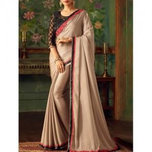 Beige Bordered Saree By The Fashion Attire