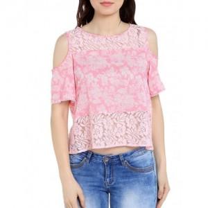 Tarama pink floral printed cotton blend top