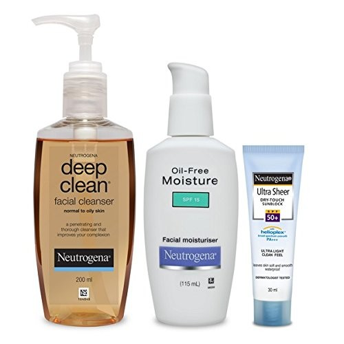 Neutrogena Oily Skin (Facial Cleanser 200ml, Moisturiser 115ml, Ultra Sunblock SPF 50+ 30ml)