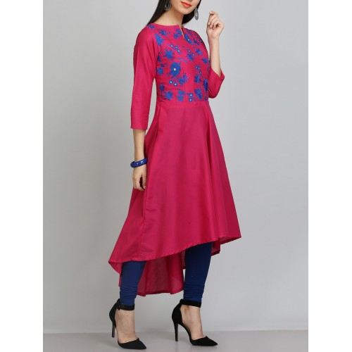 kaanchie nanggia aari embroidered pink silk blend asymmetric kurta