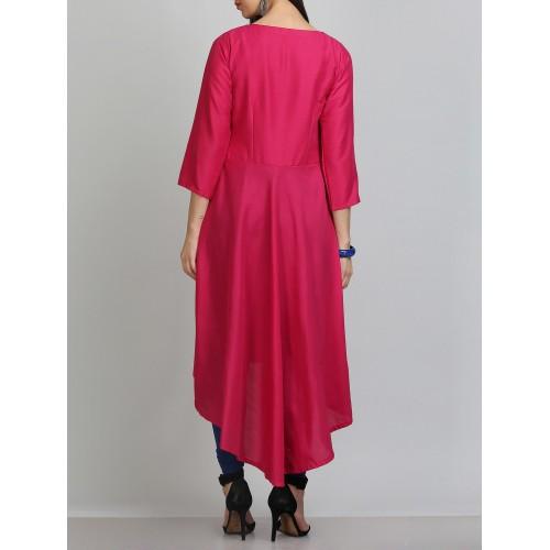 kaanchie nanggia aari embroidered pink silk blend asymmetric kurta