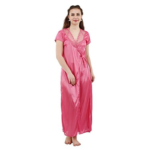 Buy Romaisa Women s Satin Nightwear Set of 4 Pcs Nighty 8b812a7de