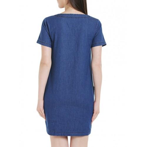 Tarama blue cotton sheath dress
