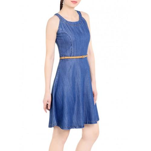 Tarama blue denim A-line dress