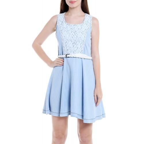 Tarama blue denim belted dress