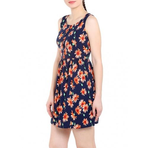 Tarama navy blue floral printed dress
