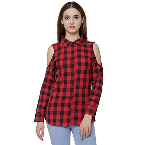 e7605eae29e161 Buy DAMEN MODE WOMEN CHECK COLD SHOULDER SHIRT ...