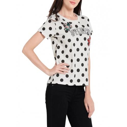 Globus white polka dots printed cotton regular tee