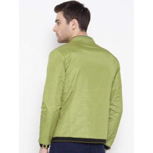 Fort Collins Men Green Solid Bomber Jacket