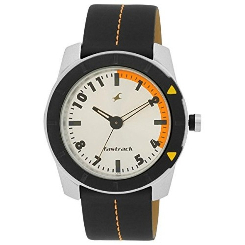 Fastrack Black Round Leather Analog Watch