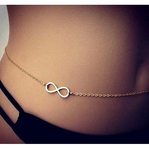 Aaishwarya Cool Infinity Sign Golden Waist Chain