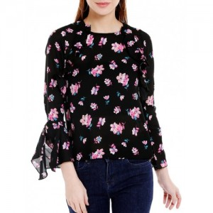 Globus black floral printed regular top