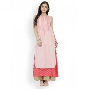 Varanga Women Off-White & Pink Printed Pathani Kurta