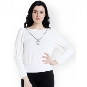 109F Women White Solid Top