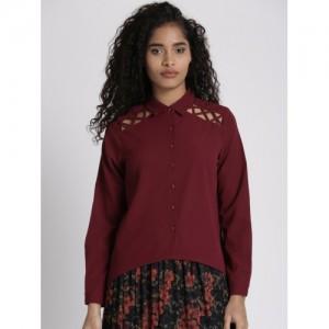Chemistry Women Burgundy Regular Fit Solid Casual Shirt