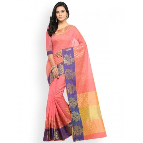 Lenora Coral Silk Cotton Woven Design Banarasi Saree