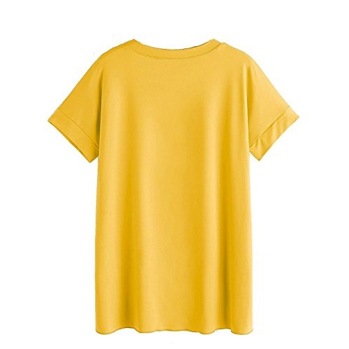 Fabula Women's YELLOW up and down Cotton Tshirt with Camouflage Pocket (size: S to XXL)