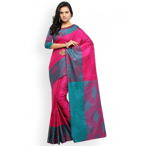 Lenora Pink Silk Cotton Woven Design Banarasi Saree