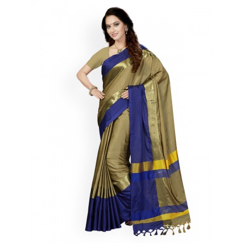 Ishin Beige Woven Design Cotton Blend Saree