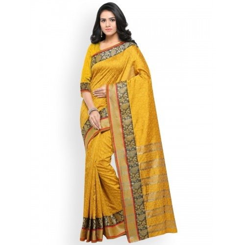 Lenora Mustard Silk Cotton Woven Design Banarasi Saree