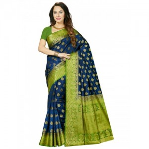 Ishin Navy Blue & Green Art Silk Woven Design Saree