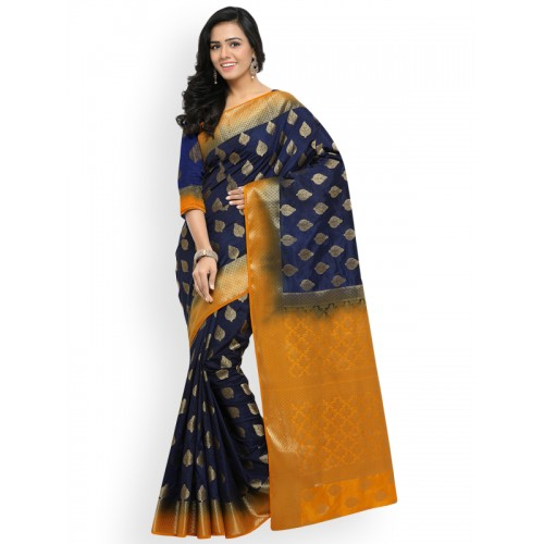 Lenora Navy Blue & Orange Silk Cotton Woven Design Kanjeevaram Saree