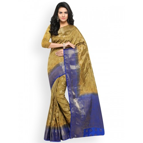 Lenora Gold-Toned & Blue Silk Cotton Woven Design Kanjeevaram Saree