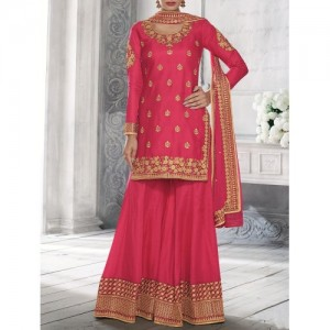 Pink Pure Silk Sharara Suits Dress Material By Aadya Couture